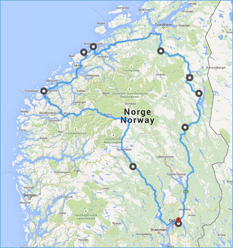 atlanterhavsveien kart Langhelg til Røros og Atlanterhavsveien atlanterhavsveien kart